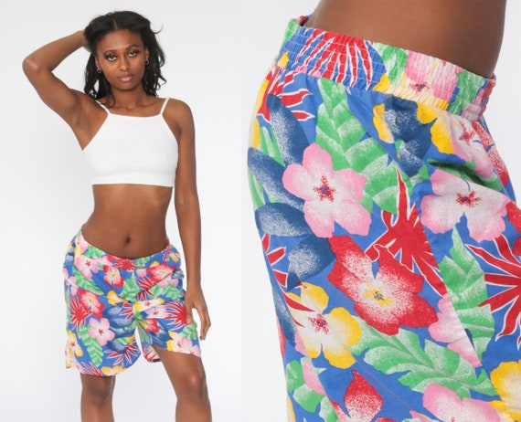 Tropical Floral Shorts 90s Beach Shorts Surf Shorts Blue Cotton Summer Surfer High Waisted Retro Vintage 1990s Extra Large xl