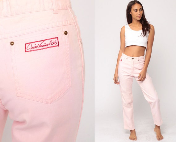 Baby Pink Pants Gloria Vanderbilt Trousers High Waisted Trousers 90s Vintage Cotton Summer Pastel Hipster Small 27 4