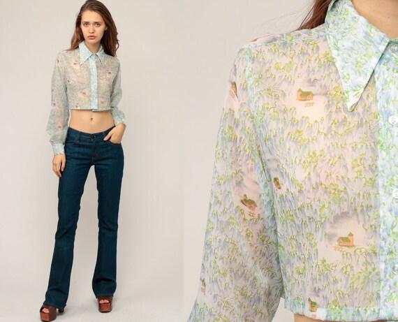 Hippie Blouse Novelty Print Shirt 70s Boho Crop Top HOUSE + FLOWERS Sheer Shirt Button Up Bohemian 1970s Vintage Long Sleeve Small Medium