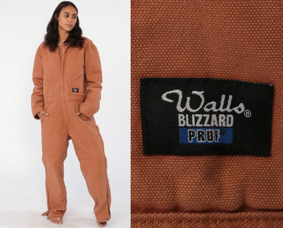 Walls Coverall Jumpsuit 90s One Piece Pants Workwear WALLS Blizzard Pruf Insulated Long Pants Work Wear Tan Vintage 1990s Small Medium