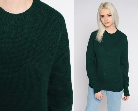 Green Wool Sweater 80s Sweater Slouchy Pullover Jumper Sweater Crewneck Vintage Raglan Sleeve Normcore Plain Small