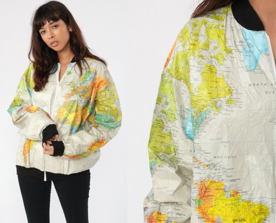 World MAP Jacket 90s Wearin The World Tyvek Dupont Bomber Jacket Windbreaker Travel Retro Vintage 80s Atlas Ty Breakers Small Medium Large