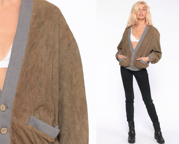 Leather Cardigan Jacket -- Boho Cardigan 70s Bohemian Suede Sweater Jacket Olive Slouchy 1970s Button Up Vintage Extra Large xl 52