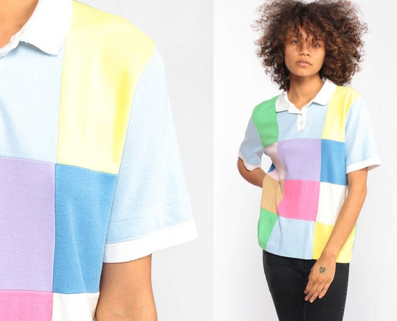Polo Shirt 80s COLOR BLOCK Shirt Pastel Top Half Button Up Tshirt Retro T Shirt 1980s Vintage Patchwork Small