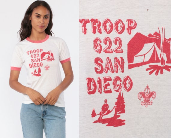 Ringer Tee Shirt BOY SCOUTS Shirt 80s Tshirt Troop San Diego Shirt Graphic Tee Retro Vintage T Shirt 1980s Camping White Red Extra Small xs