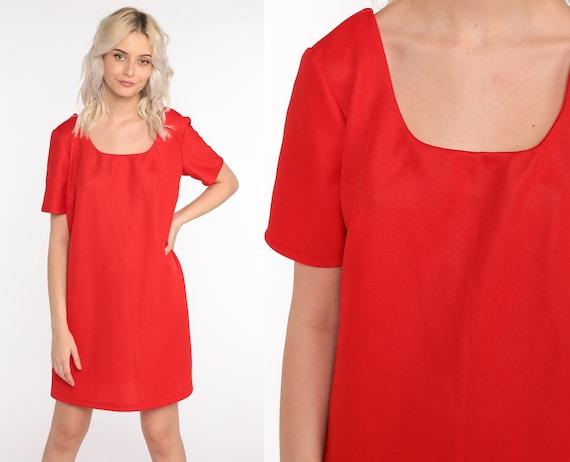 Mod Mini Dress Red Dress 60s Shift Polyester Short Sleeve Dress 1960s Gogo Vintage Sixties Twiggy Plain 70s Dress Minidress Medium Large