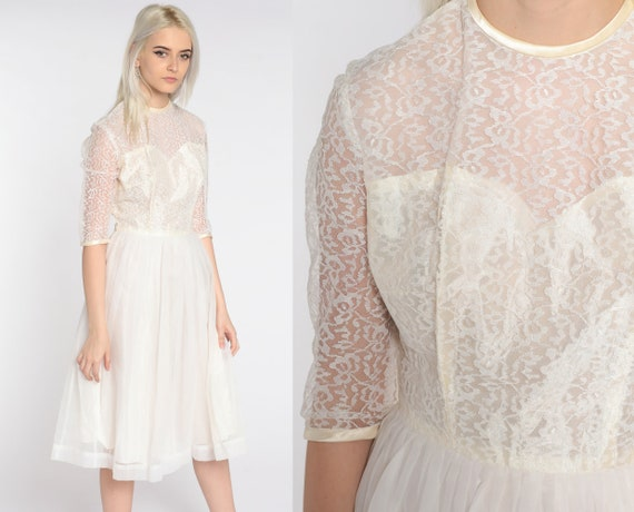 Lace Party Dress White Lace Prom Gown 50s Tea Length Midi Chiffon Formal Cocktail Sheer Illusion Neckline 60s Mad Men Vintage 1950s small