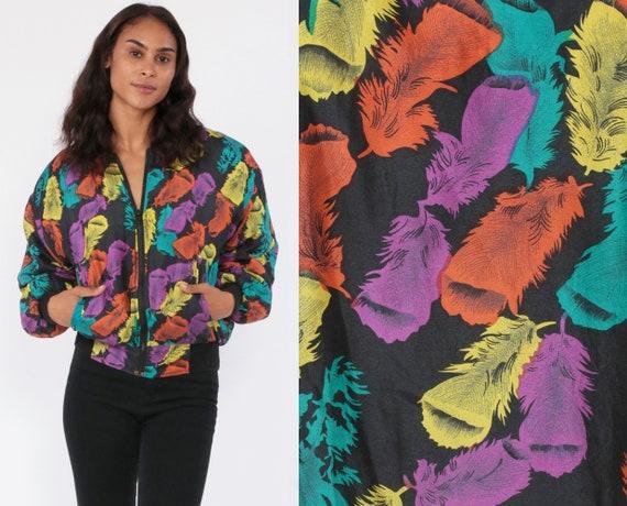 Silk Jacket Feather Print Windbreaker Jacket 90s Retro Bomber Jacket 80s Vintage Retro Jacket Bomber Rainbow Small