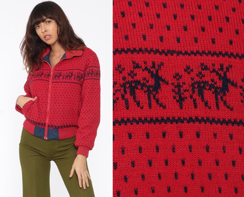 5489868b426 Reversible Reindeer Jacket Red Puffer Jacket Retro Ski Jacket