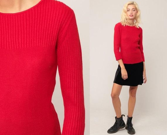 Red Sweater 70s Sweater LIGHTWEIGHT Knit Light Sweater 3/4 Sleeve Pullover Jumper Plain 1970s Hipster Vintage Medium