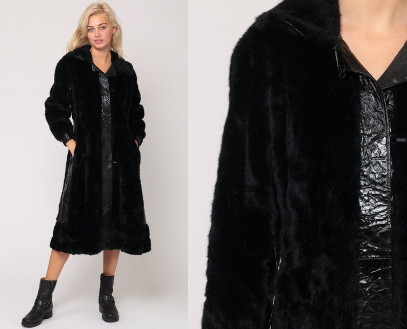 98c3f7b0bc5f7 Faux Fur Jacket 70s Black Fake Fur Coat FUZZY Coat Vegan Leather Vintage  Bohemian Long Winter 1970s Bohemian Hipster Boho Small Medium