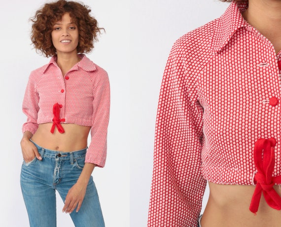 Polka Dot Crop Top 70s Shirt Drawstring Waist Button Up Blouse Collar Red White Top Vintage 1970s Cropped Top Long Sleeve Extra Small XS