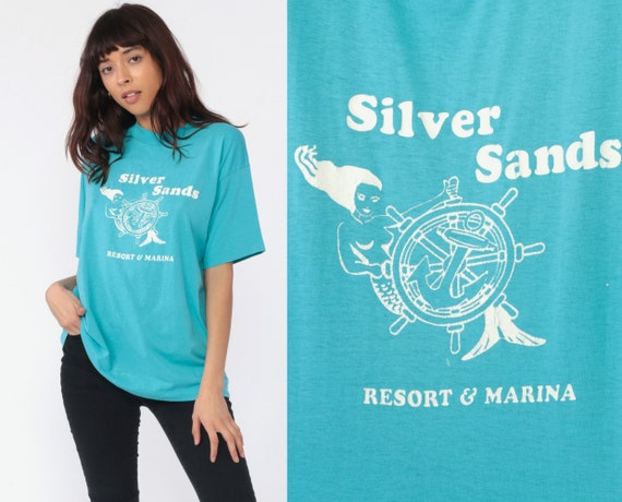 Mermaid Shirt Silver Sands Marina Shirt Retro TShirt Vintage Graphic T Shirt 80s Paper Thin Tee Camden County Missouri Blue Medium Large