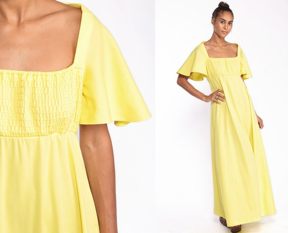 Long Yellow Dress 70s Maxi Party Flutter Sleeve KEYHOLE BACK Grecian 1970s Boho High Waist Smocked Empire Waist Medium Large