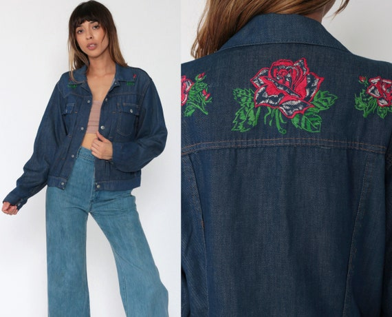 Embroidered Denim Jacket 70s Floral Jean Jacket Boho Dark Blue Hippie Jacket Rose Trucker Jacket Vintage Bohemian 1970s Small