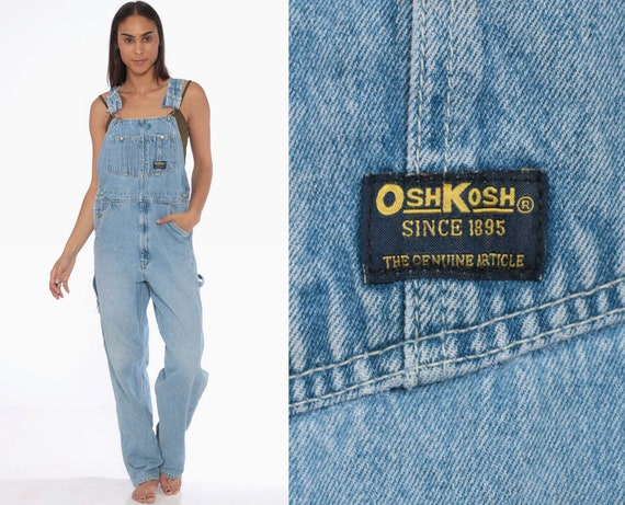 90s OshKosh Overalls -- Bib Overalls 90s Denim Women Osh Kosh Jeans Grunge Pants Baggy Long Blue Dungarees Coveralls Extra Small XS