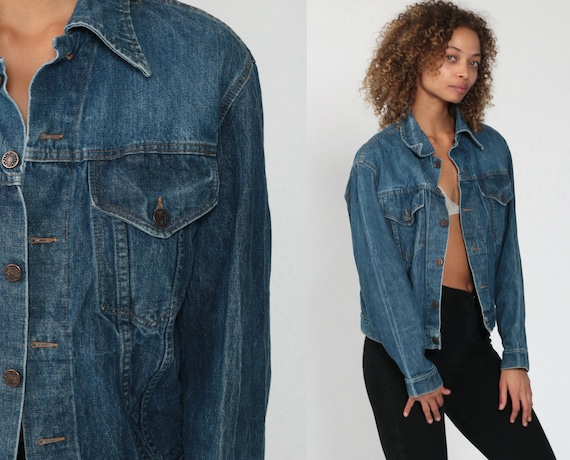 80s Denim Jacket M -- Blue Jacket Coat 1980s Blue Trucker Jacket Vintage Oversize Retro Grunge Button Up Coat Plain Medium