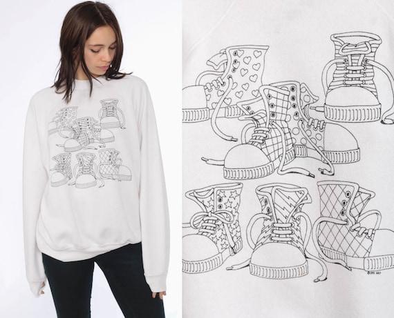 80s High Top Sneaker Sweatshirt -- 1980s Kawaii Sweater High Top Shoes Vintage 90s Raglan Crewneck White Novelty Print Distressed Large