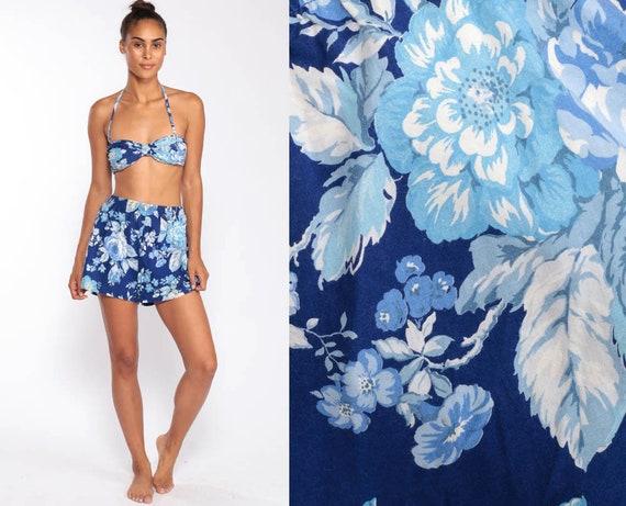 Shorts Bikini Two Piece Swimsuit 80s Bikini Floral Bathing Suit High Waist Swim Boho Vintage Retro Boyshort Pin Up 70s Blue Small
