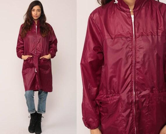Hoodie Windbreaker Jacket Burgundy Hooded Jacket 80s Hood Retro Thin Shell Jacket Plain Coat Hood 1980s Vintage Zip Up Hipster Large