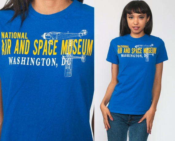 National Air and Space Museum Shirt SMITHSONIAN Institution Shirt Washington DC Vintage Graphic Tshirt Blue Museum Shirt Extra Small xs