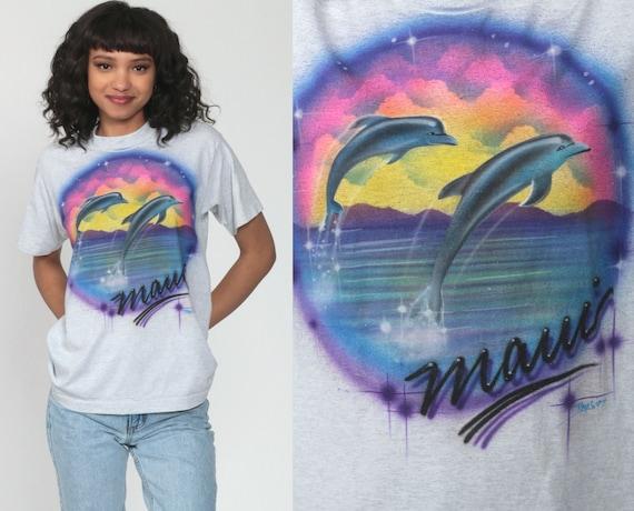Maui Dolphin Shirt AIRBRUSH Shirt Graphic Tshirt Airbrushed T Shirt 90s Print Top Single Stitch Sunset Shirt Vintage Beach Rainbow Tee Small