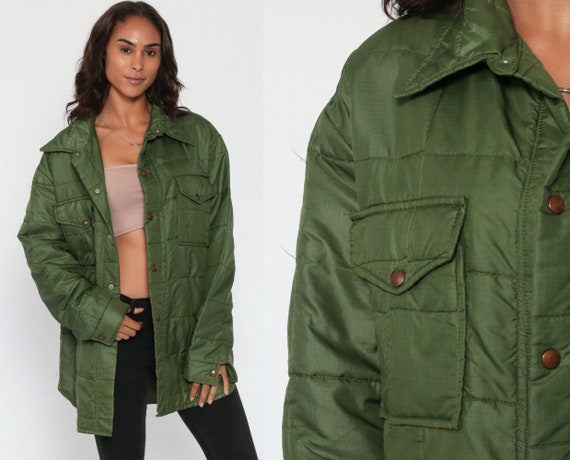 Quilted Jacket 70s Ski Jacket Olive Green Mod Coat Puffy Retro Puffer Coat Car Coat Army Military 1970s Vintage Puff Large xl l