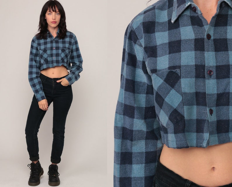 eace8f969 Blue Flannel Shirt Crop Top Buffalo Plaid Shirt 90s Grunge | Etsy