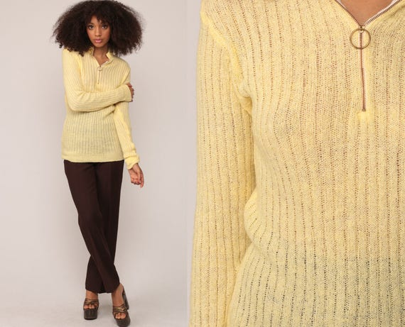 Sheer Sweater Boho Sweater 70s Knit Bohemian Pastel Yellow Polo Sweater Zip Up Pullover Vintage 1970s Jumper Medium Extra Large xl