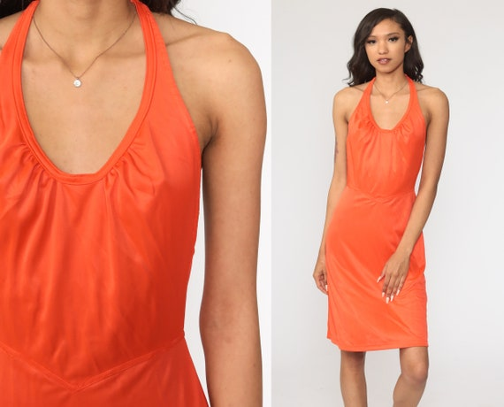 Orange Grecian Dress 1970s Halter Neck Strappy Disco Dress Bohemian Midi 70s Boho Party Vintage High Waist Sexy Small xs s