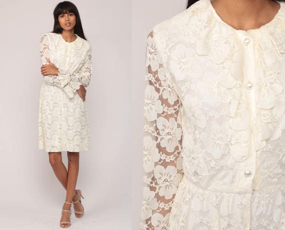Lace Mini Dress 70s Boho Off White Mod Sheer Long Sleeve Ruffle 1970s Bohemian Wedding Party Hippie Vintage High Waisted Small