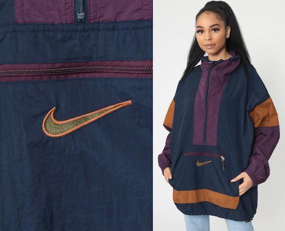 NIKE ACG Jacket Pullover Hoodie -- Navy Blue Purple Windbreaker 90s 80s Half Zip Hooded Oversized Colorblock Vintage Men's Large