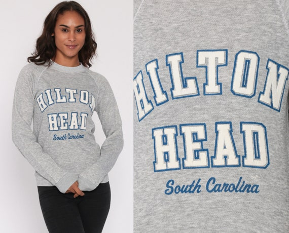 Hilton Head Sweatshirt South Carolina Shirt Grey 80s Raglan Pullover 1980s Vintage Gray Resort Heather Gray Pullover Extra Small XS