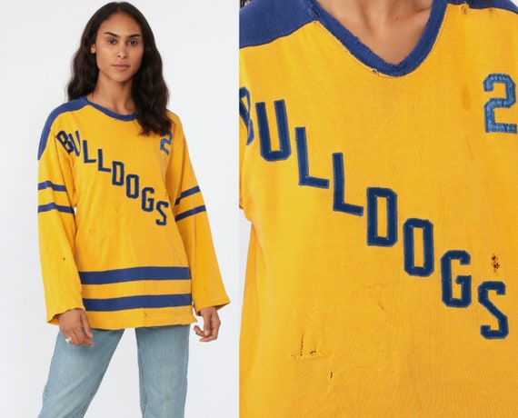 Hockey Shirt 80s BULLDOGS Jersey Shirt Long Sleeve Yellow Blue Sports Athletic TShirt 80s Jersey Distressed Vintage 1980s Medium