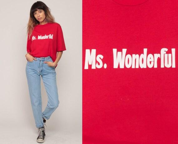 Retro T Shirt MS WONDERFUL TShirt 80s Vintage Slogan Shirt Graphic Print Joke Tee 1980s Red Extra Large xl
