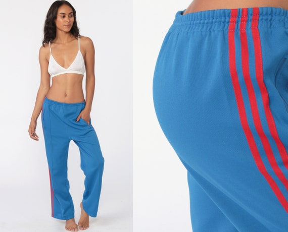 Adidas Track Pants 80s Gym Jogging Running Royal Blue Striped Track Suit 1980s Sports Vintage Retro Streetwear Small Medium