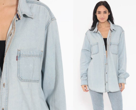 Levis Denim Shirt 90s Button Up Shirt Jean Shirt Light Blue Grunge Long Sleeve Cotton Oversized Button Down Extra Large xl l
