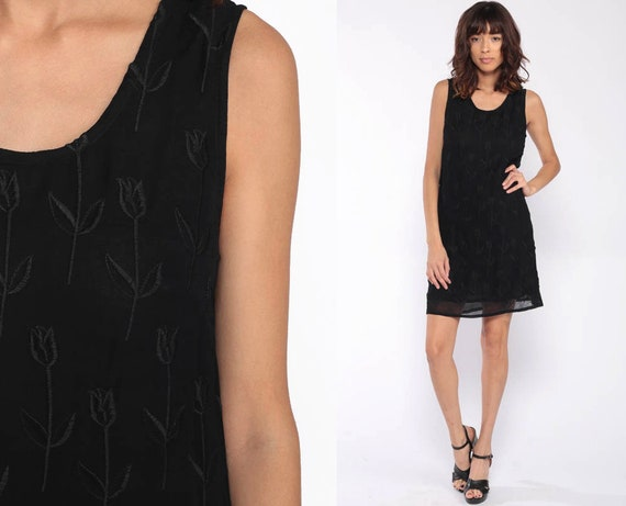 Black Grunge Dress 90s Mini FLORAL EMBROIDERED Viscose 1990s Vintage Shift Sleeveless Party Goth MiniDress Small