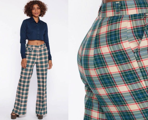 Plaid Levis Bell Bottom Trousers Flare Pants 70s Hippie High Waisted Levi Tartan Bohemian 1970s Blue Green Checkered Print Vintage Small