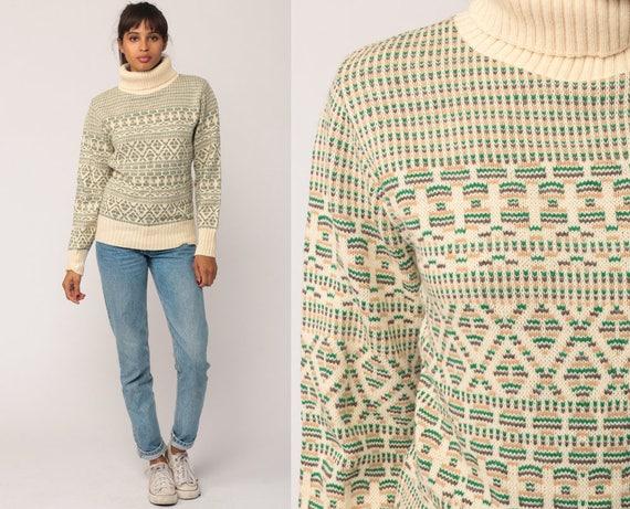 Turtleneck Sweater Striped Sweater 80s Ski Sweater Boho Geometric Fair Isle Pullover Jumper Cream Green Vintage Knit Funnel Neck Medium
