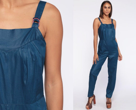 70s Jumpsuit Pantsuit Romper Pants Vintage Overalls Shiny Blue Straight Leg 80s High Waisted Boho Sleeveless Tank Strap Extra Small xs