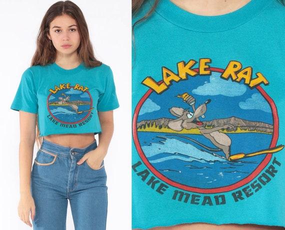 Graphic Shirt LAKE MEAD RESORT Crop Top Lake Rat Tshirt Vintage Retro Tee 80s Sports T Shirt Thin Waterski Ski Blue Turquoise Extra Small xs