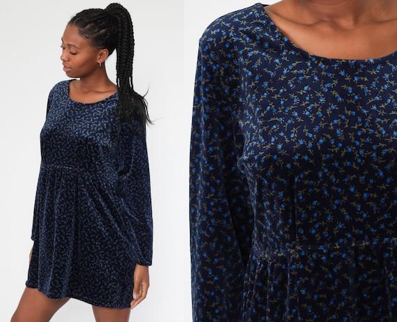 90s Blue Velvety Long Sleeve Babydoll Dress
