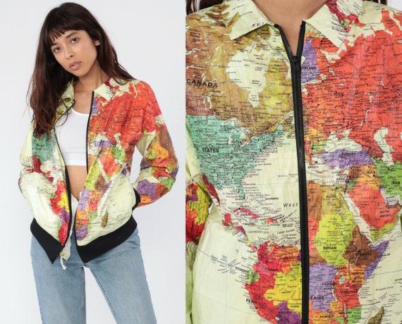 90s World MAP Jacket 1990s Tyvek Bomber Windbreaker Plastic Grunge Travel Retro Vintage 80s Atlas Zip Up Jacket Small