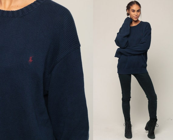 Ralph Lauren Sweater 90s Polo Sport Cotton Knit Navy Blue Slouchy Preppy Hipster Pullover Jumper Vintage Plain Extra Large xl