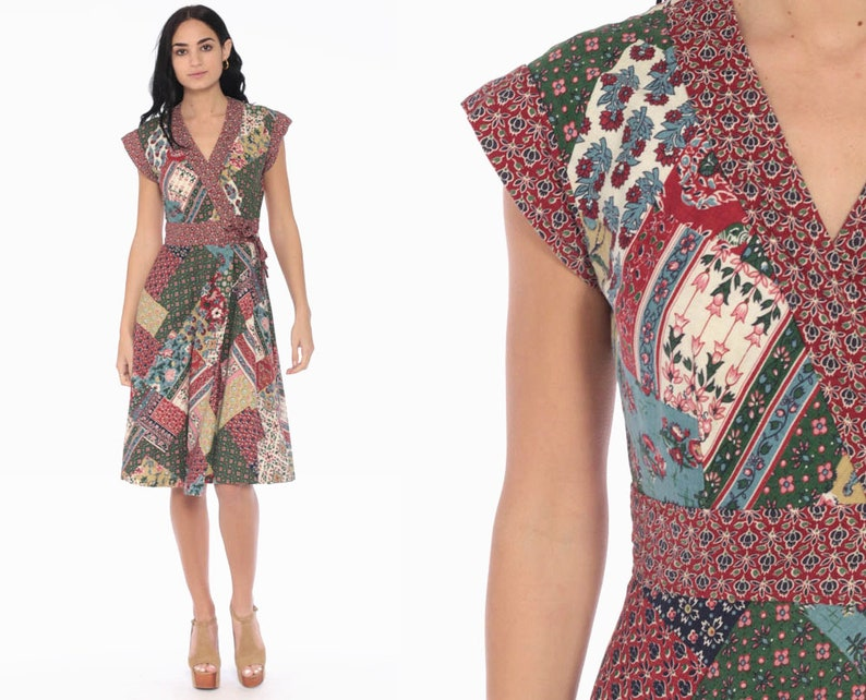 4d077d7747 Floral Wrap Dress 70s Boho Dress Patchwork Cap Sleeve Midi
