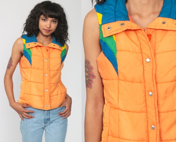 Orange Puffer Vest Retro 70s Ski Vest Striped Puffy Sleeveless Jacket Winter Color Block 80s Vintage 1970s Small xs