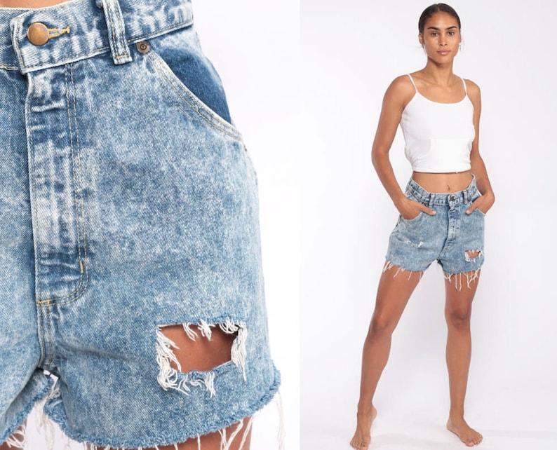 936e28e3167 Acid Wash Denim Shorts Ripped Short 80s High Waisted Cutoffs   Etsy