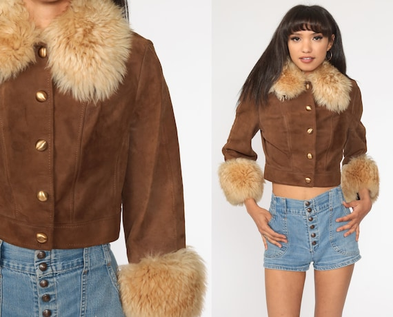 Faux Fur Leather Jacket 70s Cropped Coat Brown Leather Hippie Jacket Boho 1970s Hipster Womens Bohemian Extra Small xs