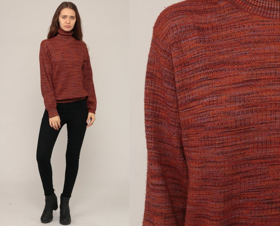 70s Sweater Retro Turtleneck Boho Knit High Neck Burgundy Space Dye Sweater 1970s Vintage Funnel Neck Pullover Large